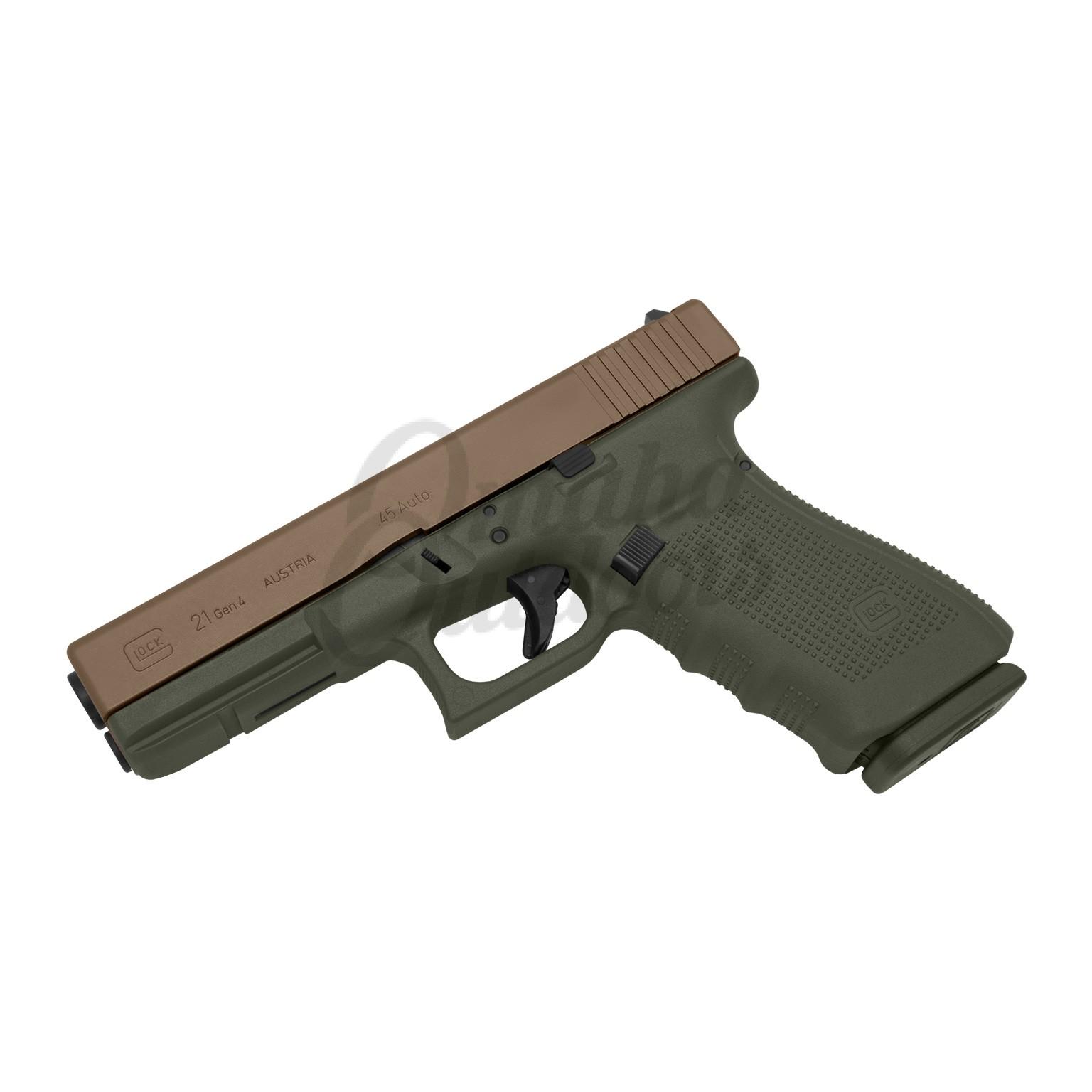 Glock 21 Gen 4 OD Green Pistol 45 ACP Magpul FDE Slide 13 RD