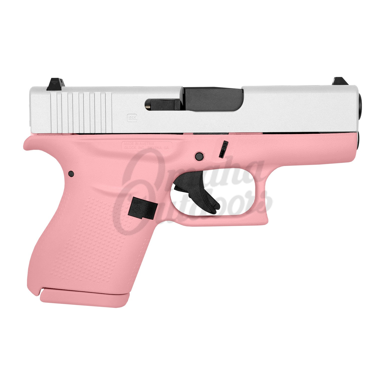 glock 43 victoria pink pistol 9mm satin aluminum slide 6 rd