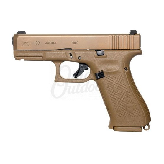 Glock 19X Gen 5 MOS Full Coyote Tan Pistol 9mm 17, 19 RD Night Sights  PX1950703MOS