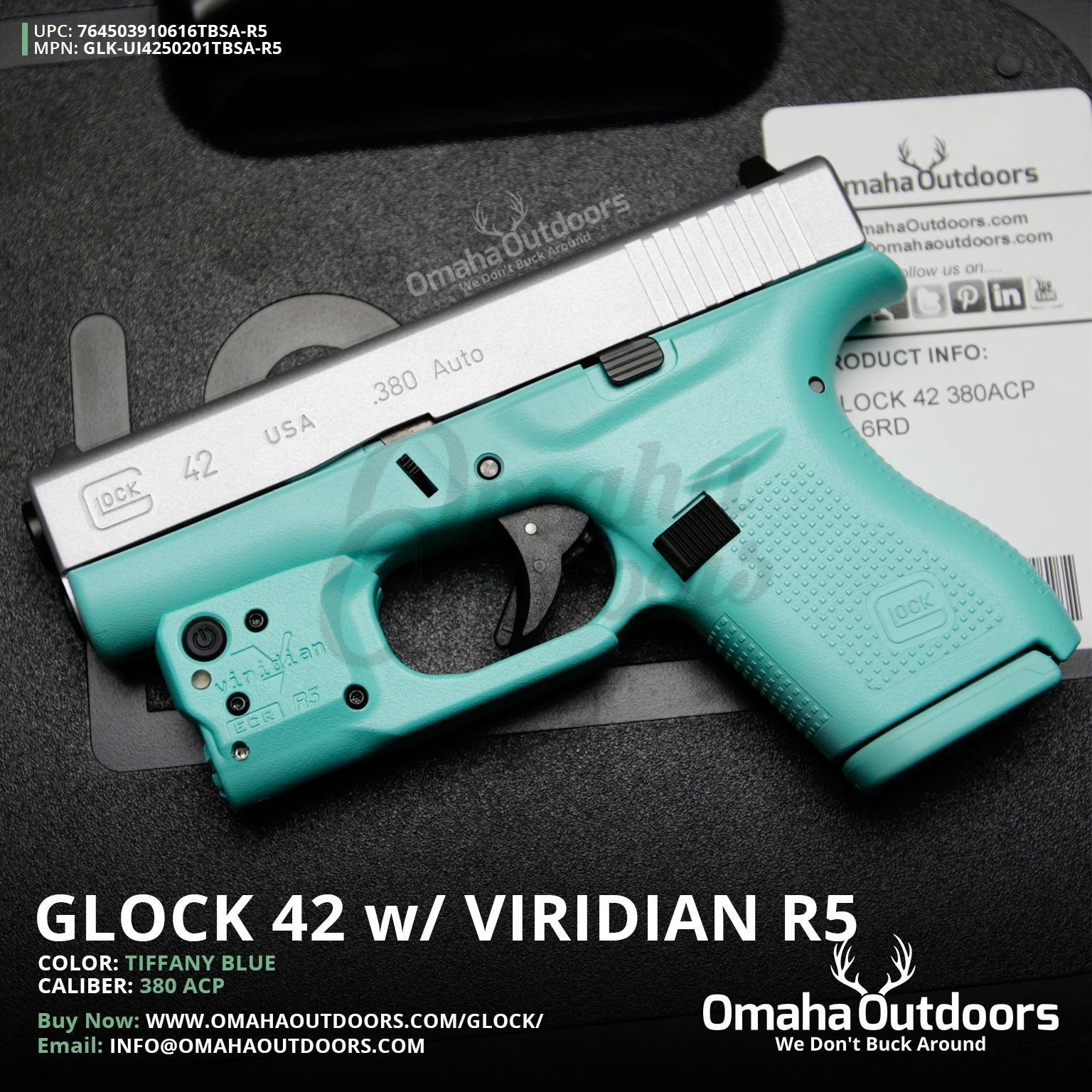 Glock 42 Vera Blue Pistol 380 ACP Viridian R5 Green Laser Satin Aluminum  Slide 6 RD UI4250201-VBL-FR-SAL-SL-VBL-R5