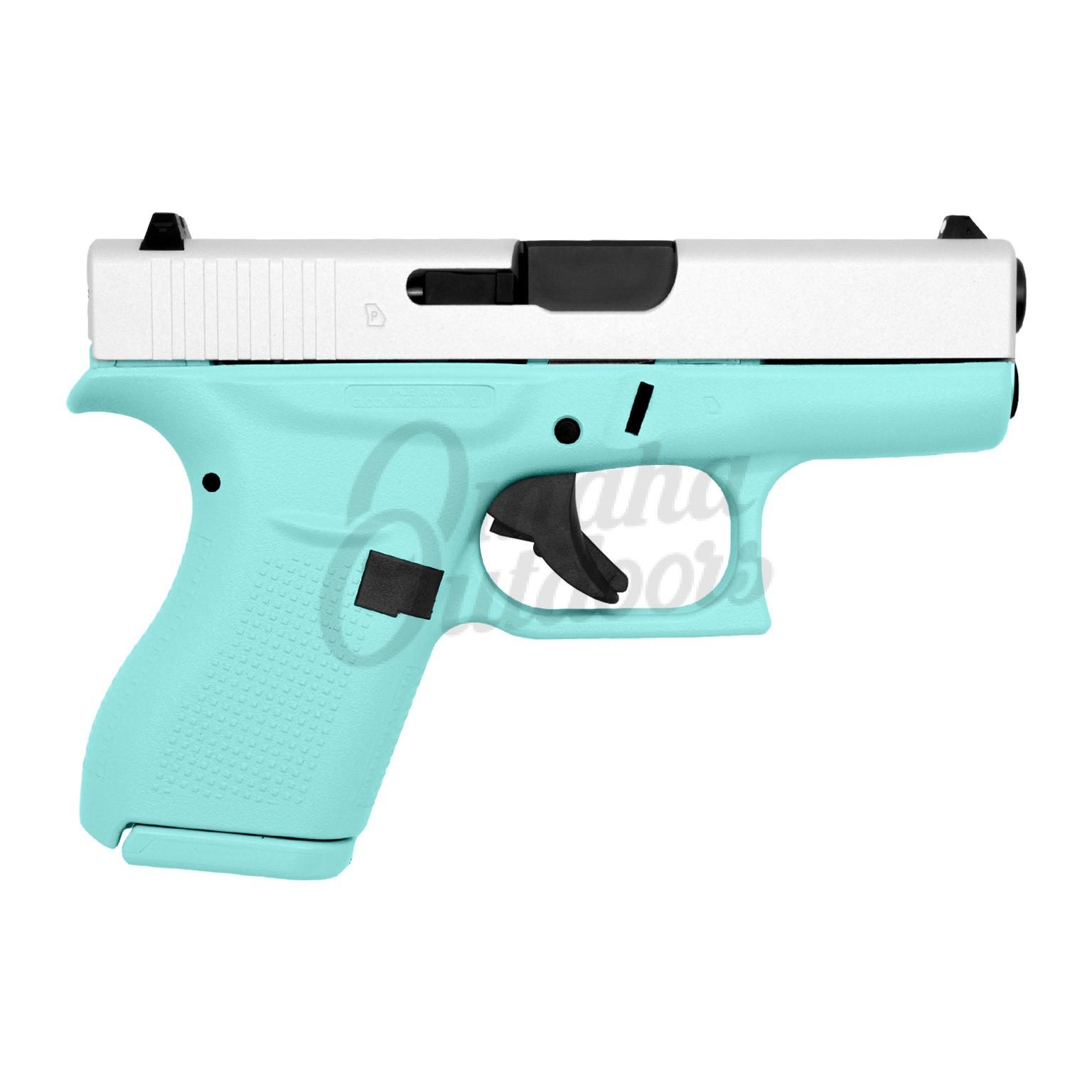 Glock 42 Vera Blue Pistol 380 ACP Satin Aluminum Slide 6 RD  UI4250201-VBL-FR-SAL-SL