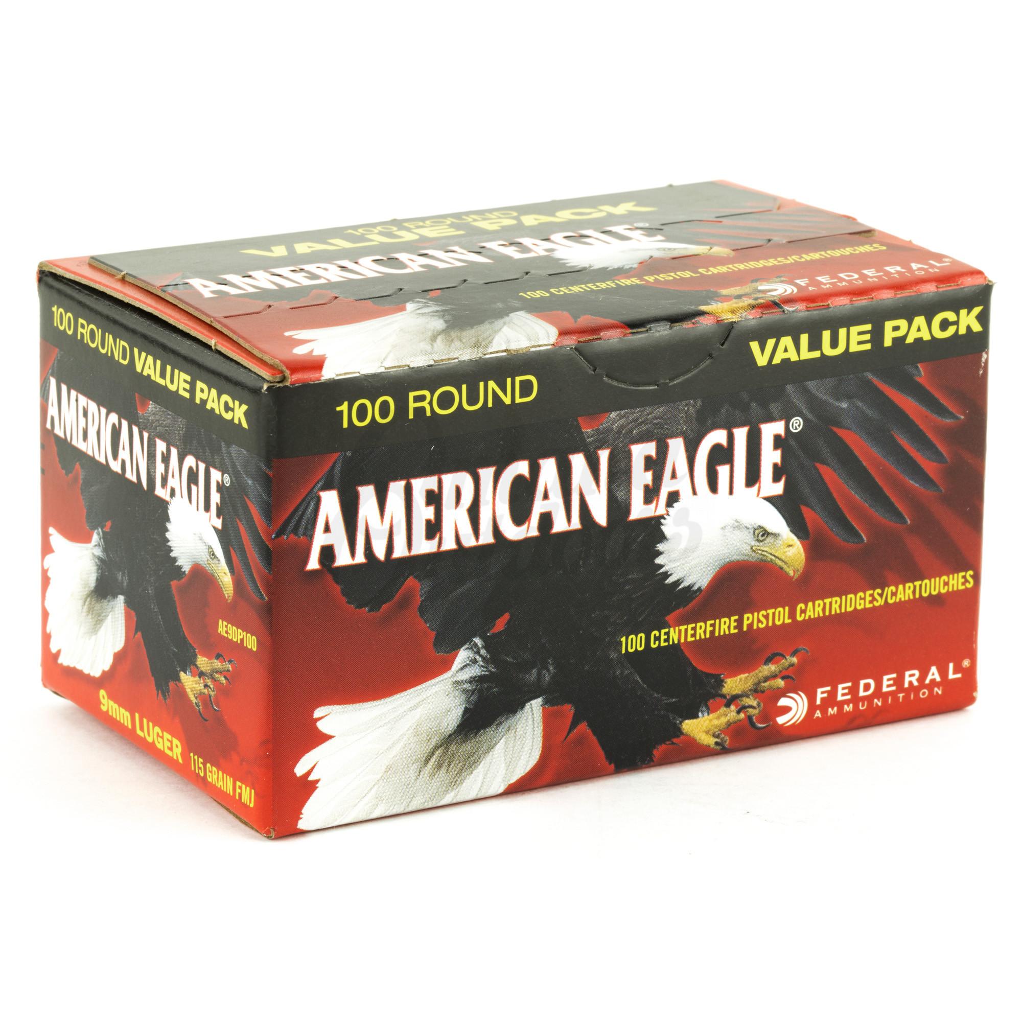 Federal American Eagle 9mm Ammo 115 Grain FMJ 100 Round Box