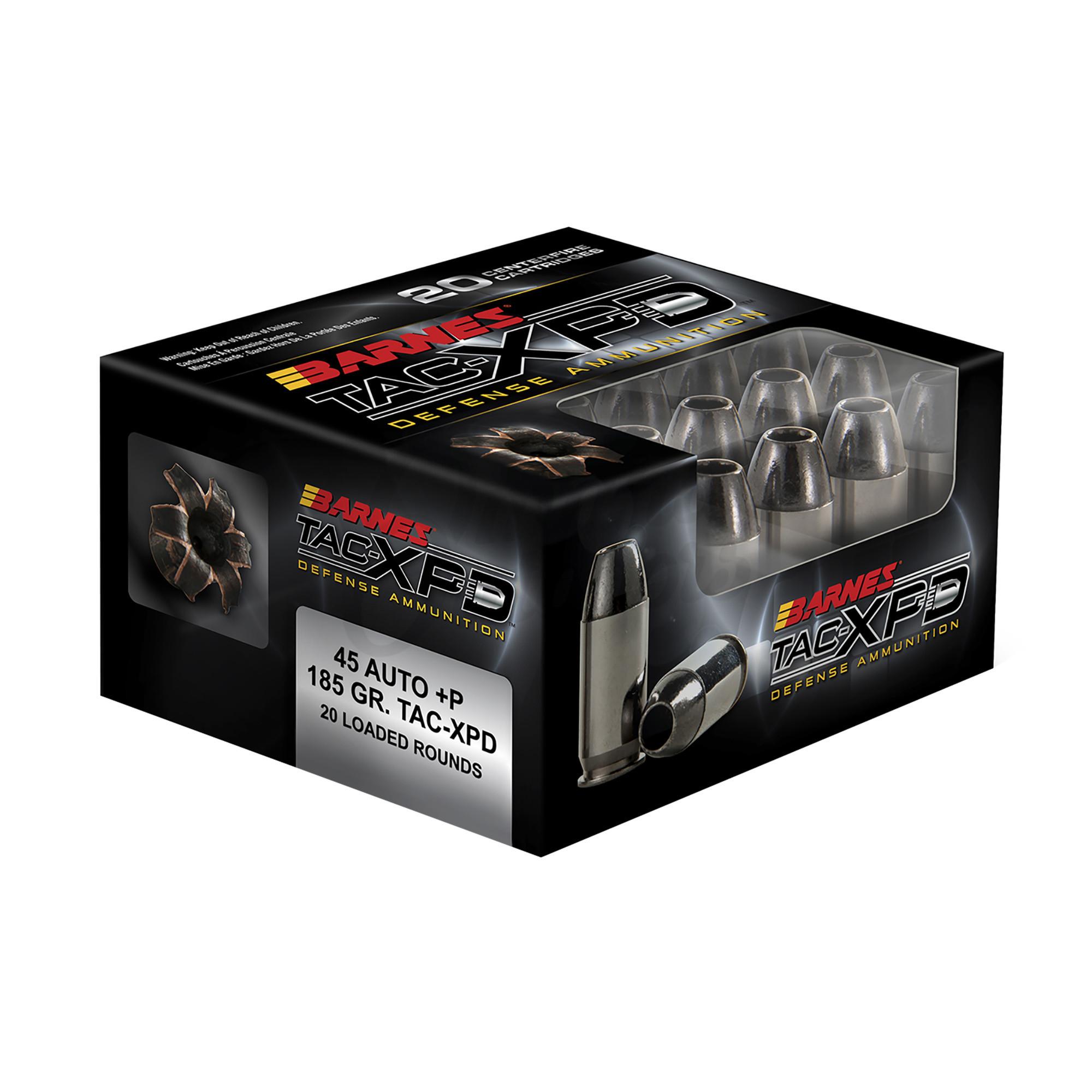 Barnes Bullets TAC-XPD Ammo 45 ACP +P 185 gr TAC-XP Lead ...