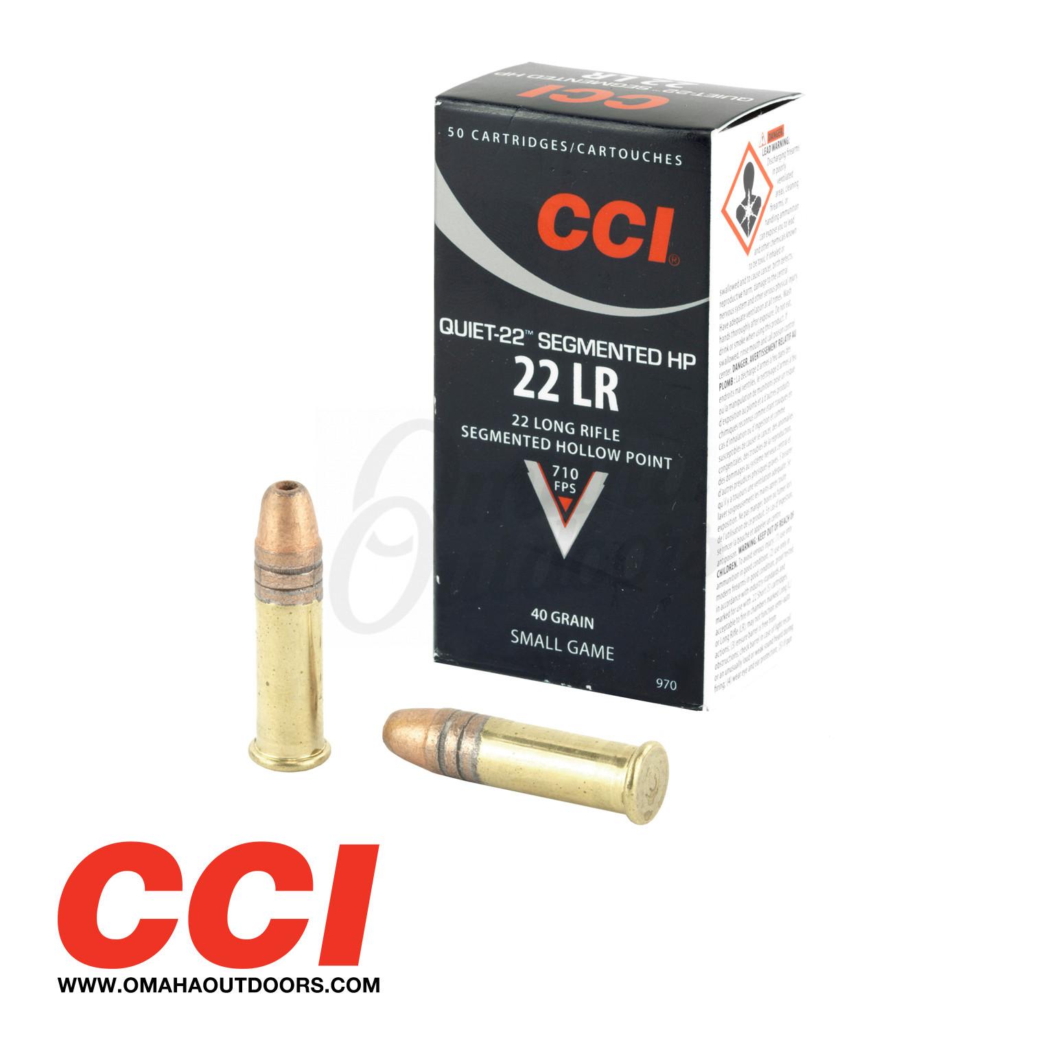 cci quiet 22 ammo 22lr 40 gr cp rn 50 round box 970
