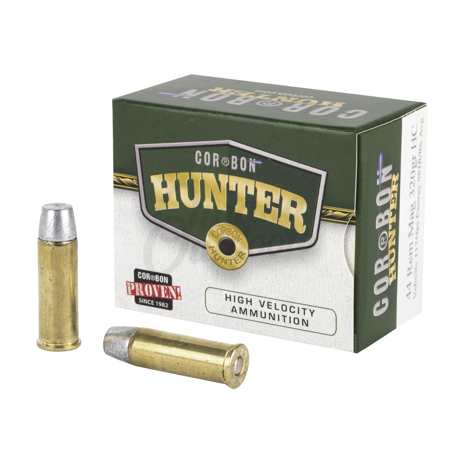 CorBon Hunter Ammo 44 Magnum 320 Grain Hard Cast 20 Round Ammo Box