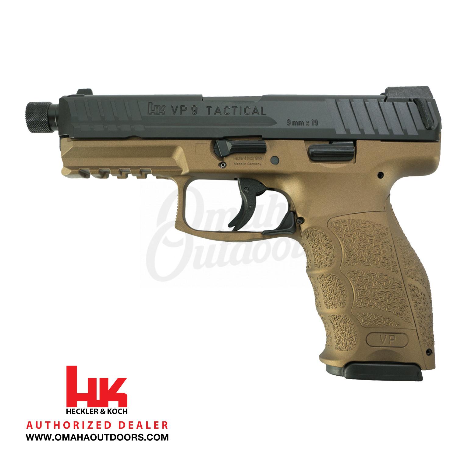 HK VP9 Tactical LE Burnt Bronze TB Pistol 15 RD 9mm Night