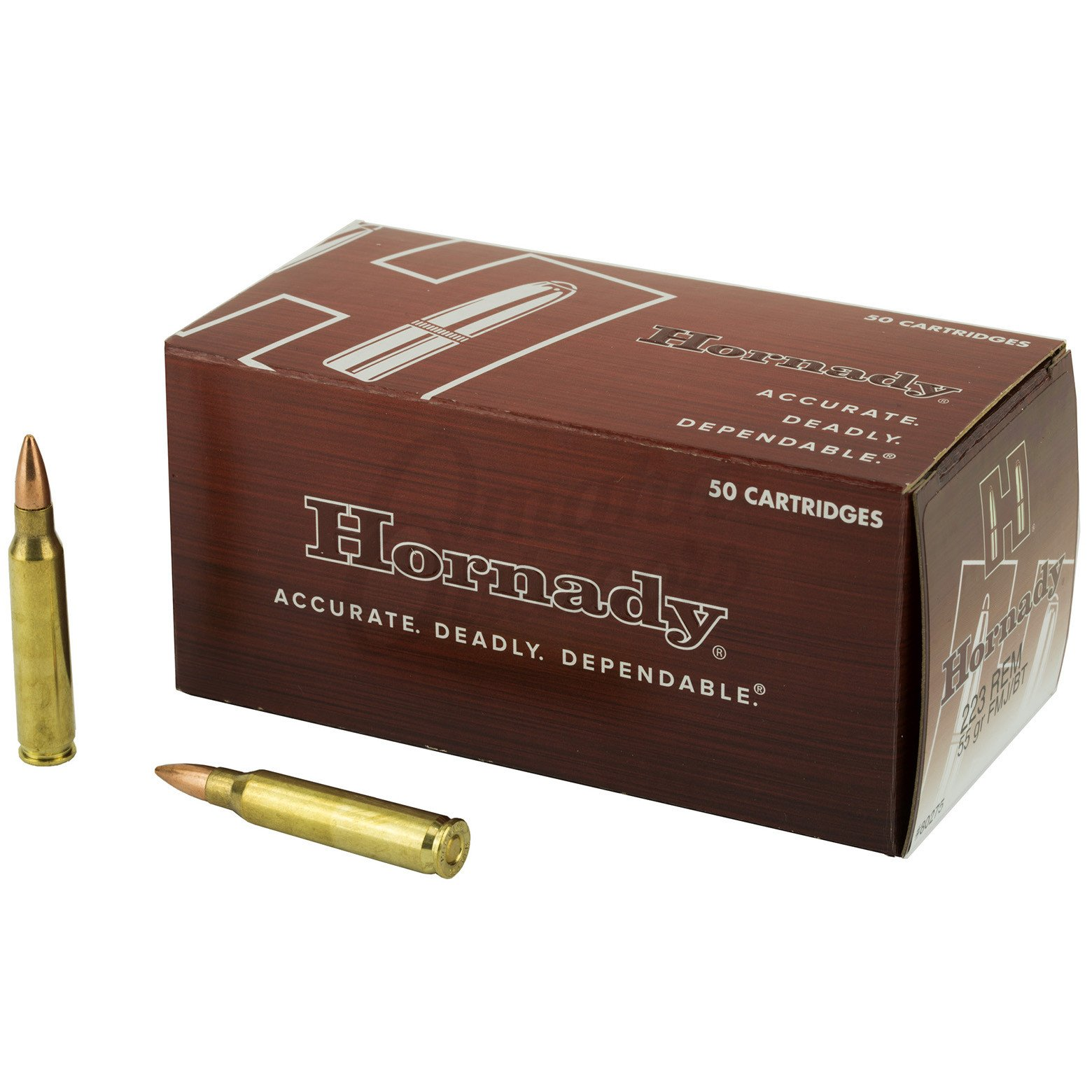 Hornady Custom 223 Remington 55 Grain FMJ Boat tail 50 Round Ammo Box 80275