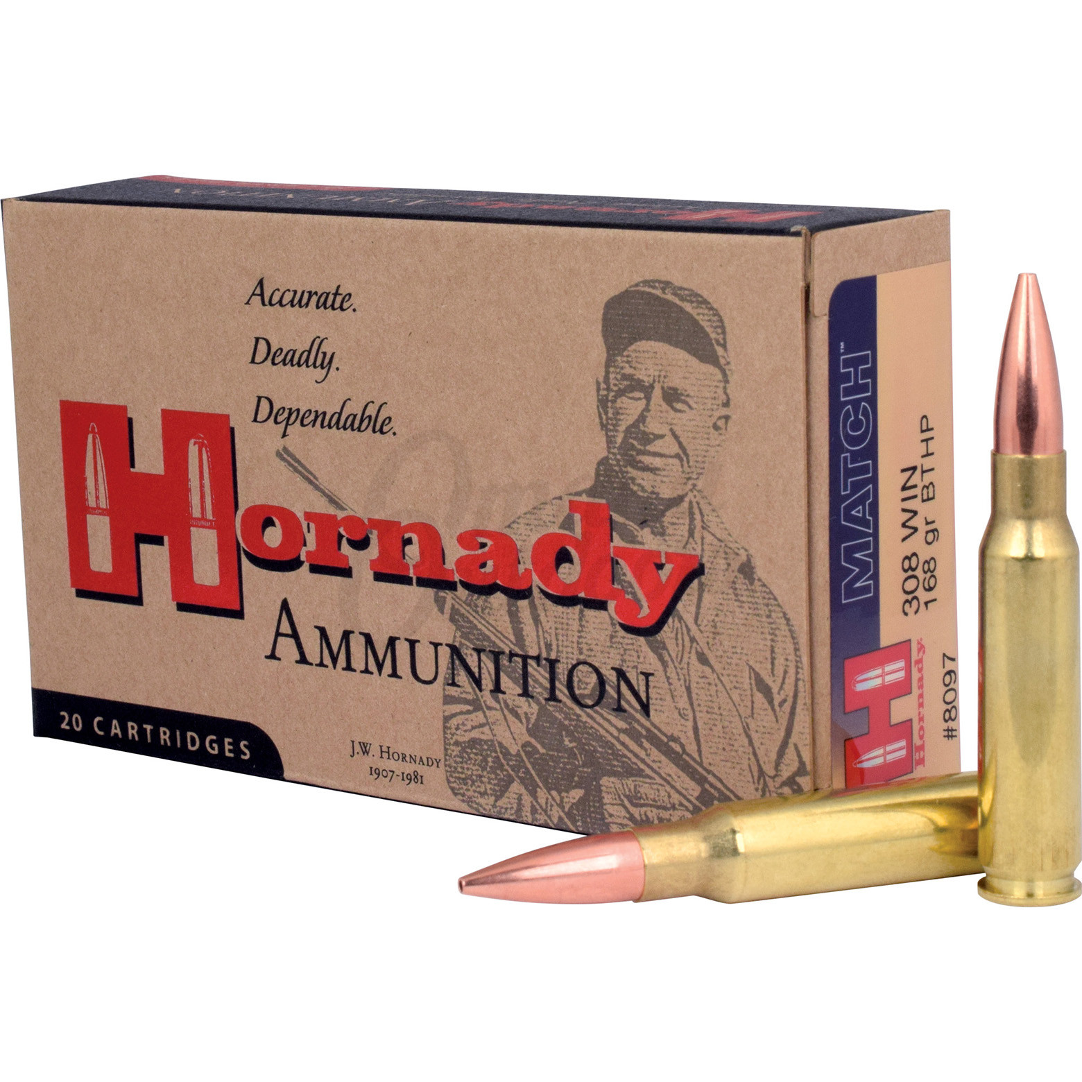 Hornady Match 308 Winchester 168 Grain Boat Tail Hollow Point 20 Round Ammo  Box 8097