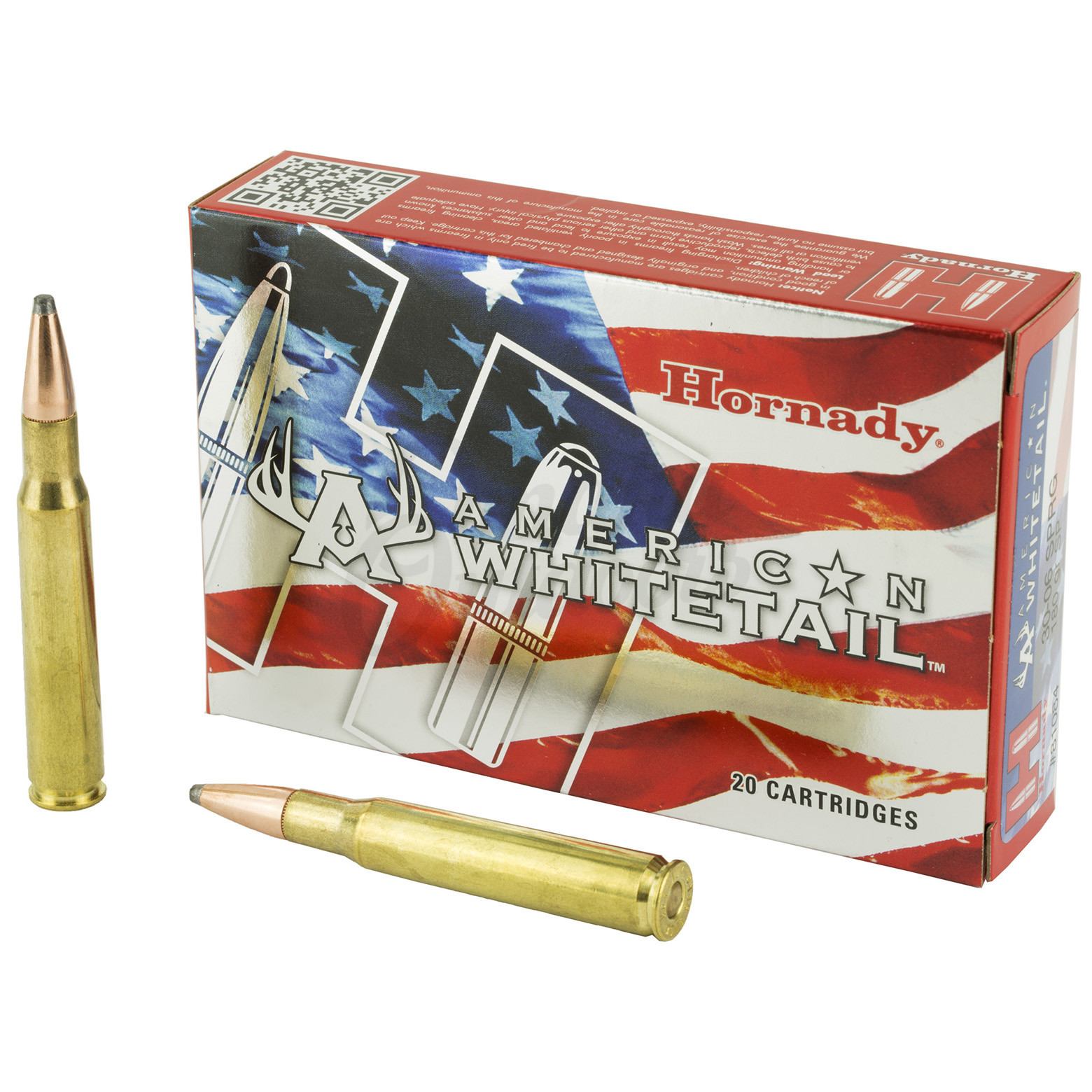 Hornady American Whitetail 30-06 Springfield 180 Grain InterLock Soft Point  20 Round Ammo Box