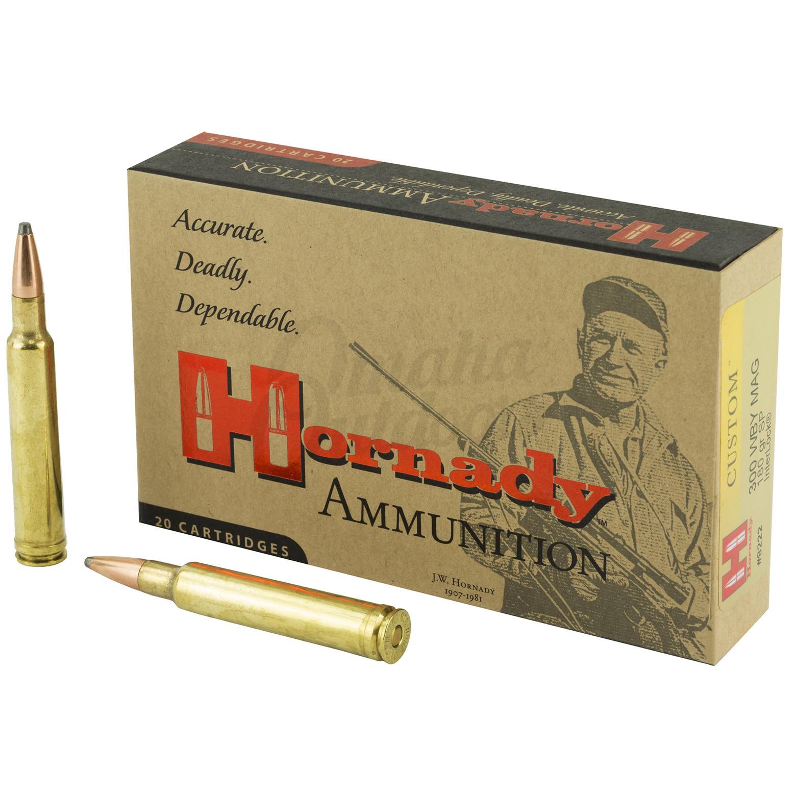Hornady Custom 300 Wby Mag 180 Grain InterLock Soft Point 20 Round Ammo Box  8222