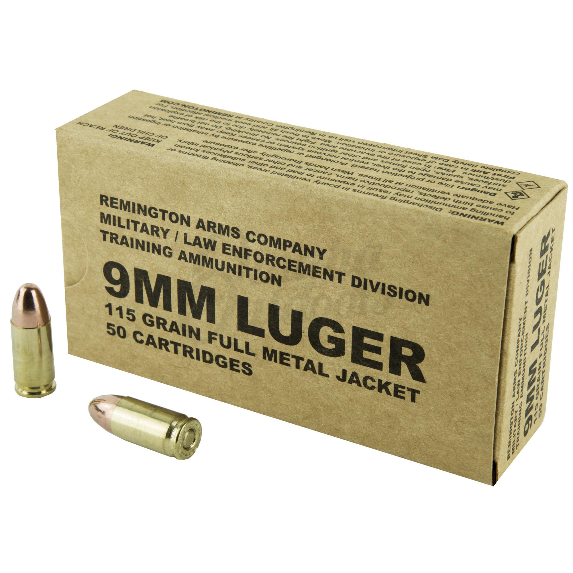 Remington MIL/LE Training 9mm Ammo 115 Grain FMJ 50 Round Box