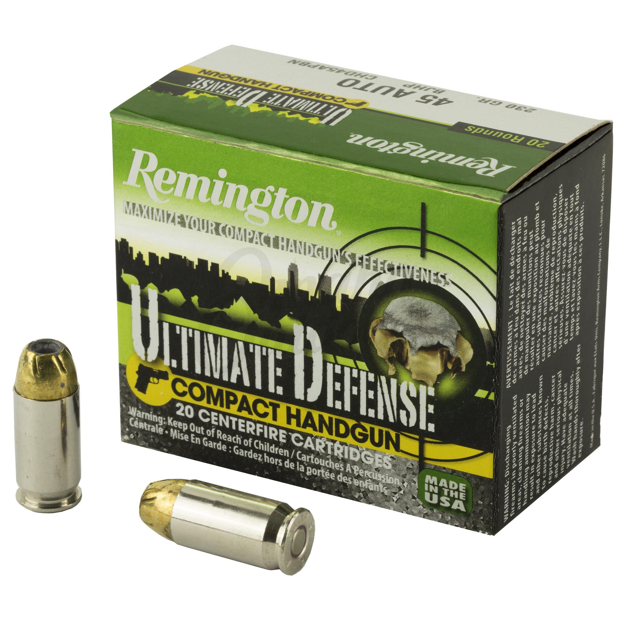Remington Ultimate Defense Compact 45 ACP Ammo 230 Grain Brass JHP 20 Round  Box 28967