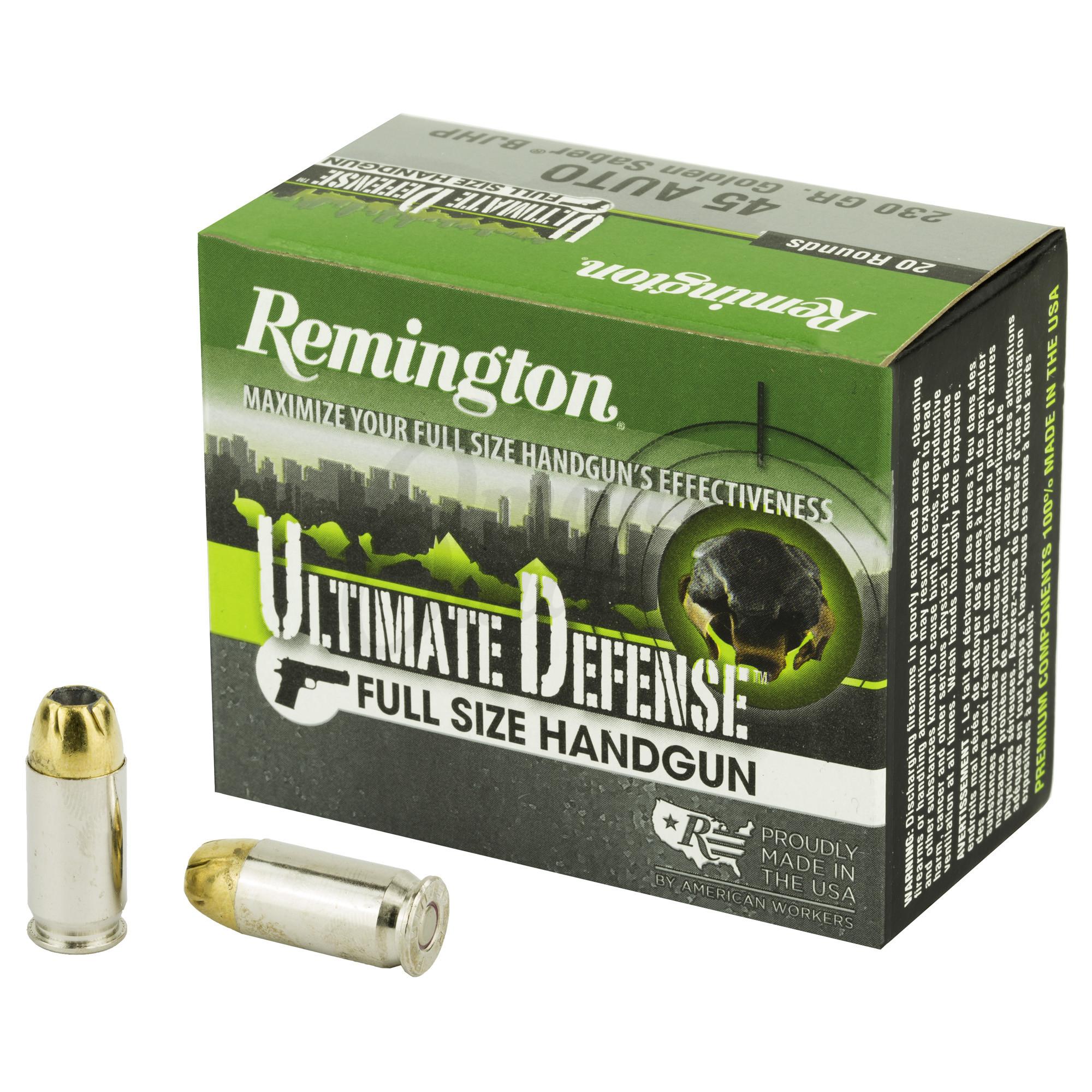 Remington Ultimate Defense 45 ACP Ammo 230 Grain Brass JHP 20 Round Box  28942
