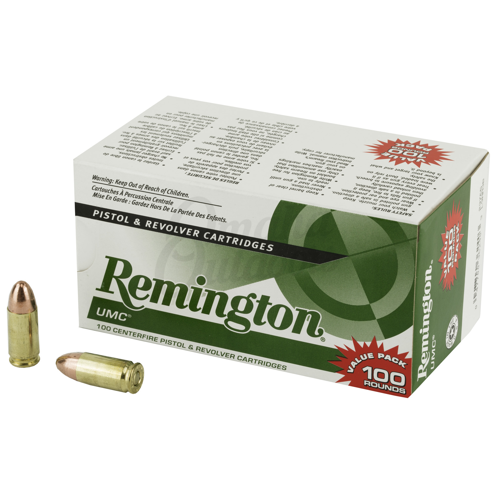 Remington UMC 9mm Ammo 115 Grain FMJ 100 Round Box 23765