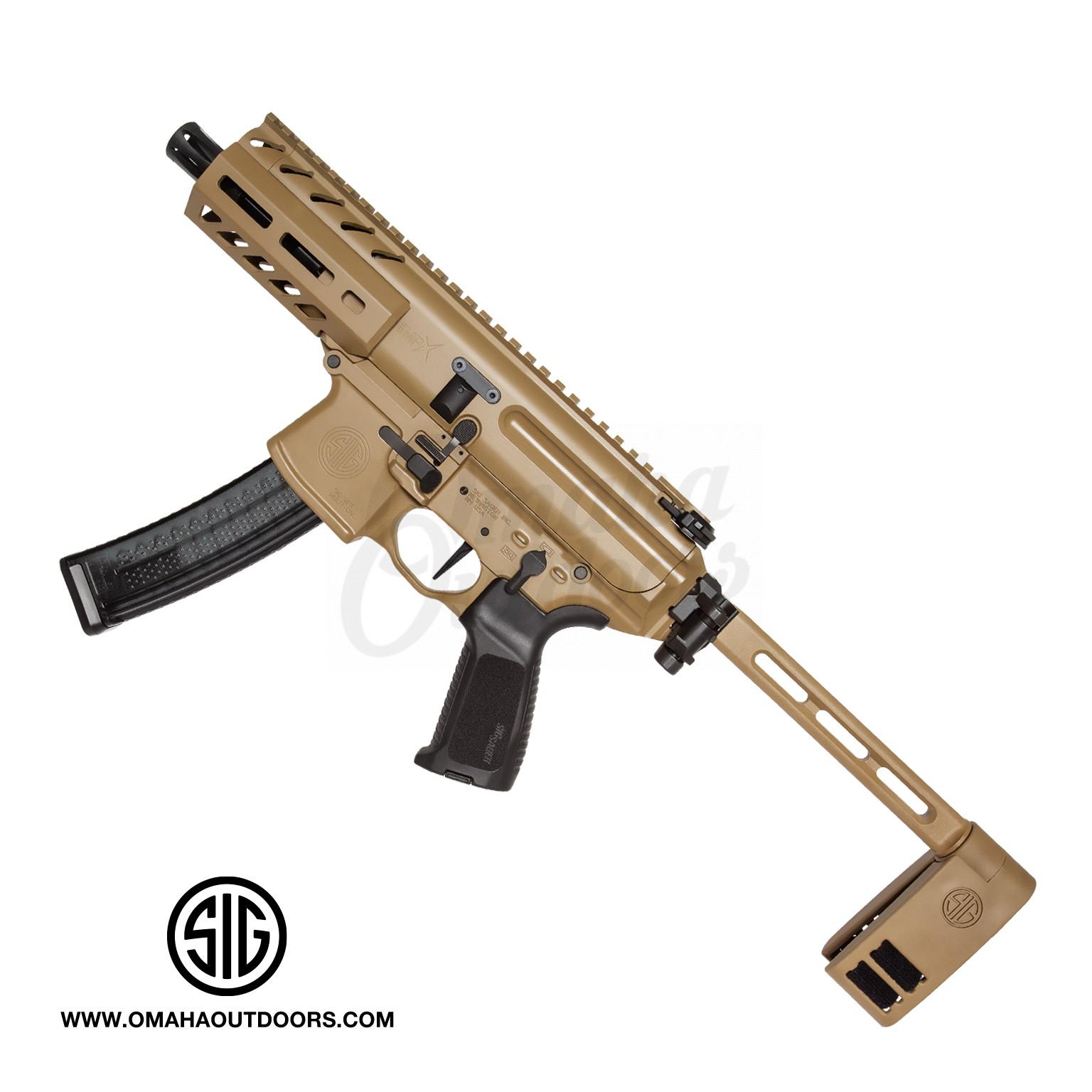 Sig Sauer MPX K Coyote Rifle Style Pistol 4 5″ 9mm 30 RD M-LOK PCB Brace  PMPX-4B-9-COY