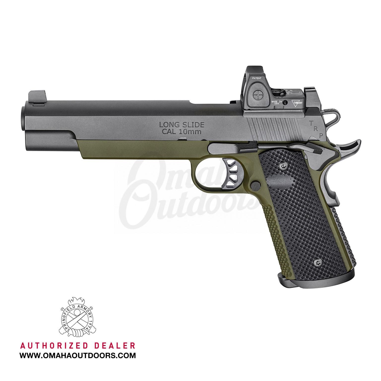 Springfield Armory 1911 TRP OD Green 6″ Pistol 10mm 8 RD Night Sights  Trijicon RMR PC9610RMR18