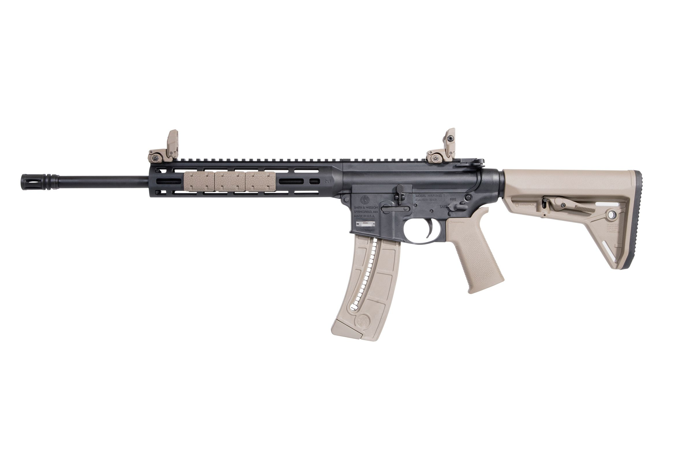 Smith and Wesson M&P15-22 Sport MOE SL FDE, Black Rifle 16 5″ 22 LR 25 RD  M-LOK 10210