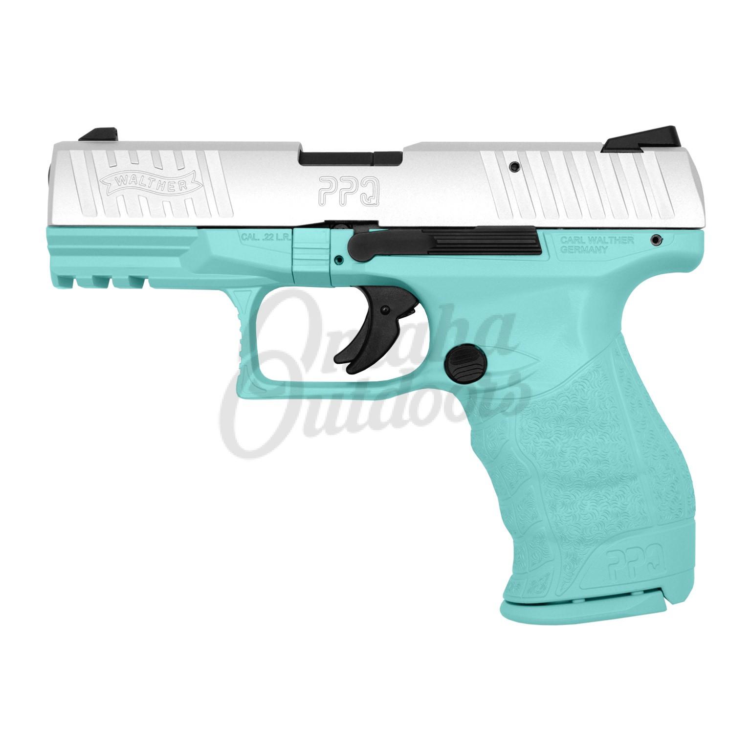 Walther Arms PPQ 22 Vera Blue Pistol 22 LR Satin Aluminum Slide 12 RD  5100300-VBL-FR-SAL-SL